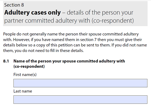 Adultery cases form