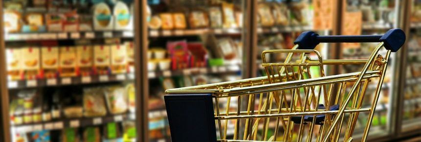 shopping trolley in a supermarket